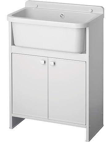Negrari -5001PMC - Lavadero ahorraespacio en resina para exteriores, color blanco