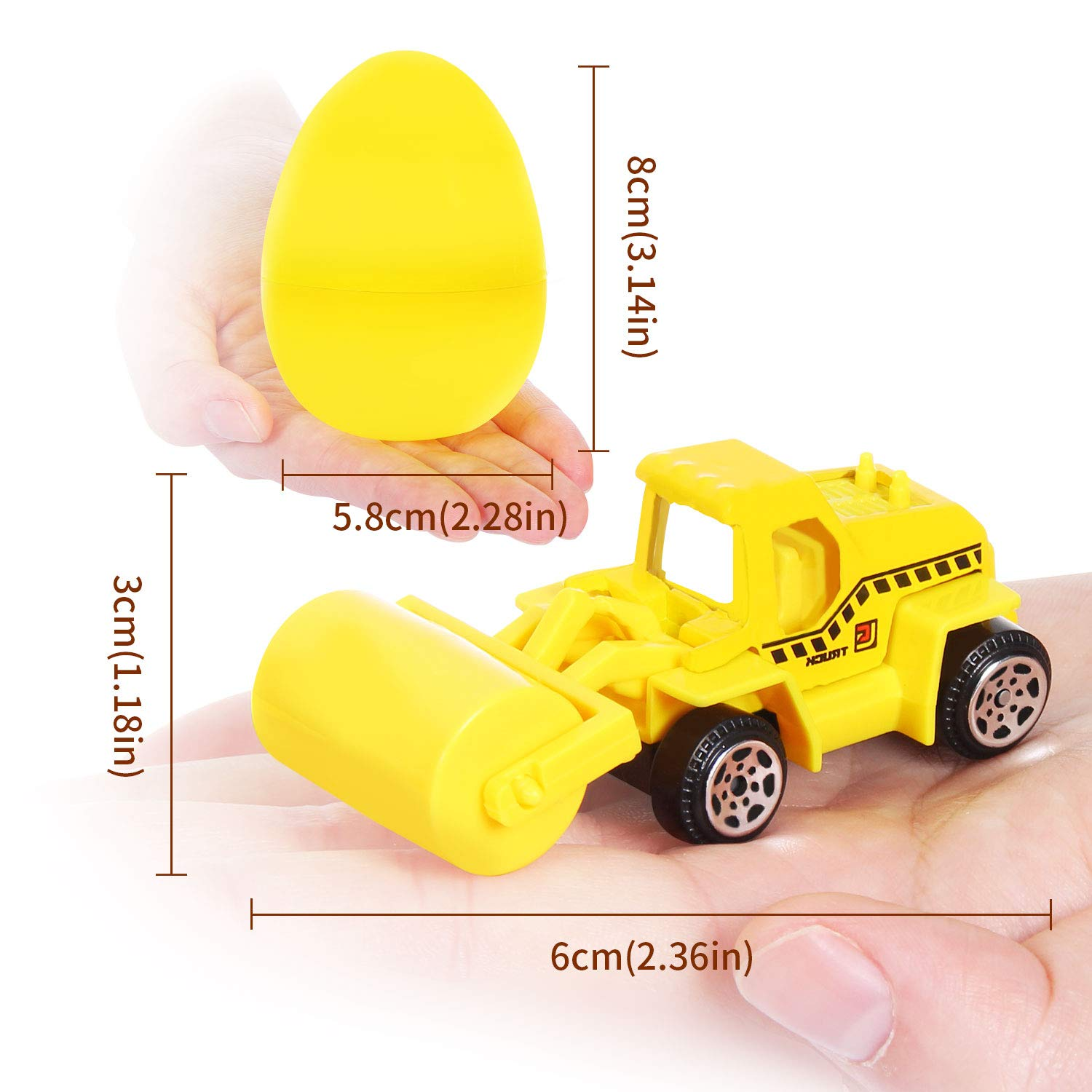 12 Pcs Toys Filled Easter Egg Filling Treats and Party Favor Toch 3.2 Inches Colorful Surprise Eggs with 12 Different Mini Vehicles for Kids Easter Hunt