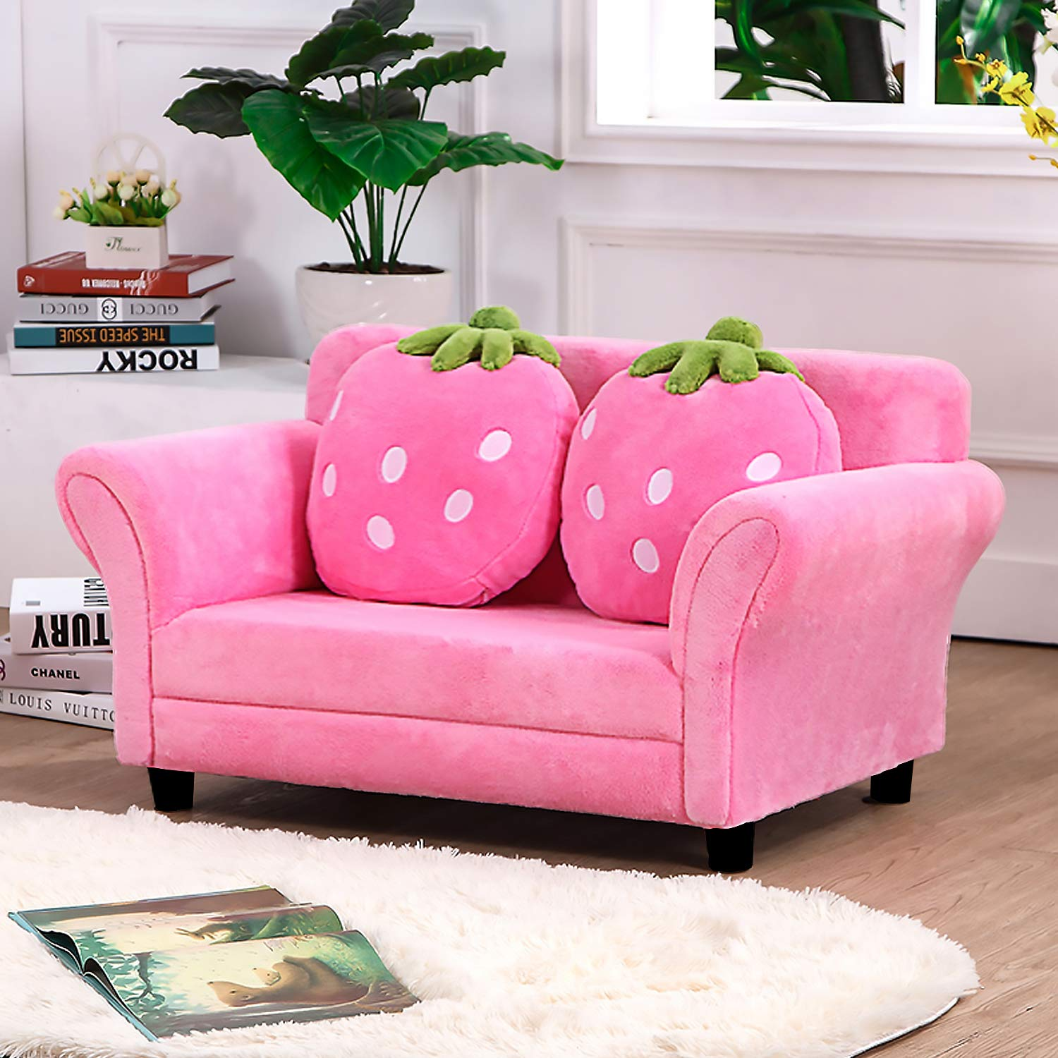 Children Sofa Kids Couch with Sturdy Wood Armrest Chair Upholstered Living Room Furniture Lounge Bed with Two Strawberry Pillows Favciuove