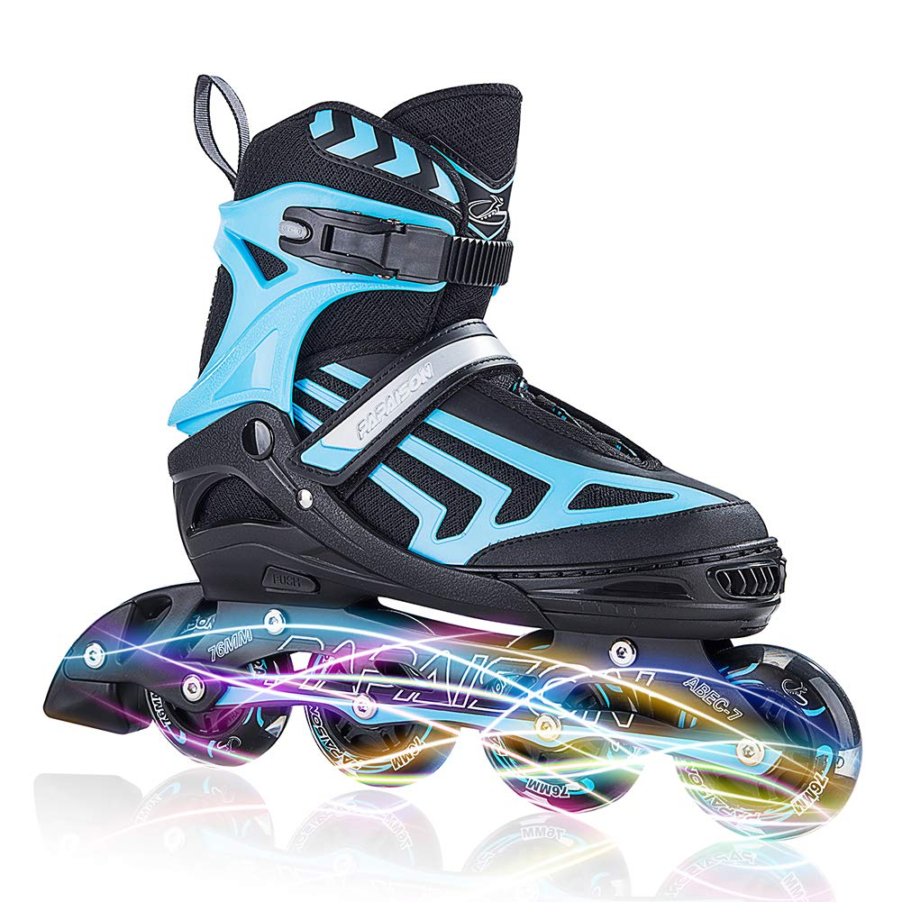 ITurnGlow Kids and Adults Adjustable Inline Skates with Full Light Up Wheels, Safe and Smooth Beginner Roller Skates for Girls and Boys, Men and Women