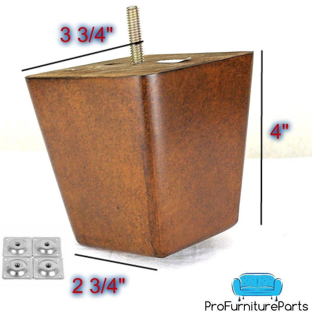 ProFurnitureParts 4'' Inch Medium Walnut Finish Square Tapered Pyramid Wood Sofa Legs Set of 4 W/Leg Plates