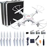 Syma X5C-1 RC Quadcopter Toys with Potable Carrying Case HD Camera Explorers 2.4GHz 6 Axis Gyro 4CH Drone, (Extra: 2 x 600mAh Battery, 1 x 4-in-1 charger, 4 x propellers)