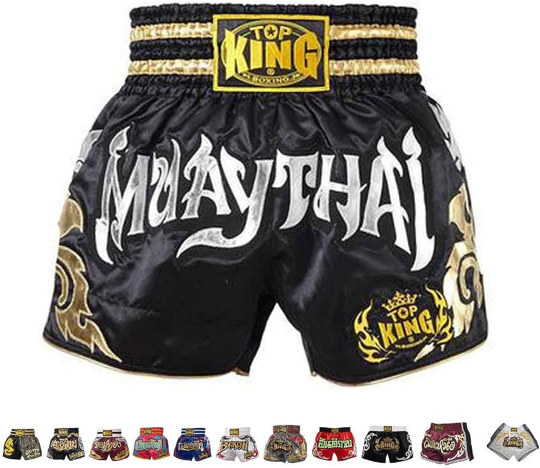Top King Muay Thai Shorts Black-Silver Muaythai