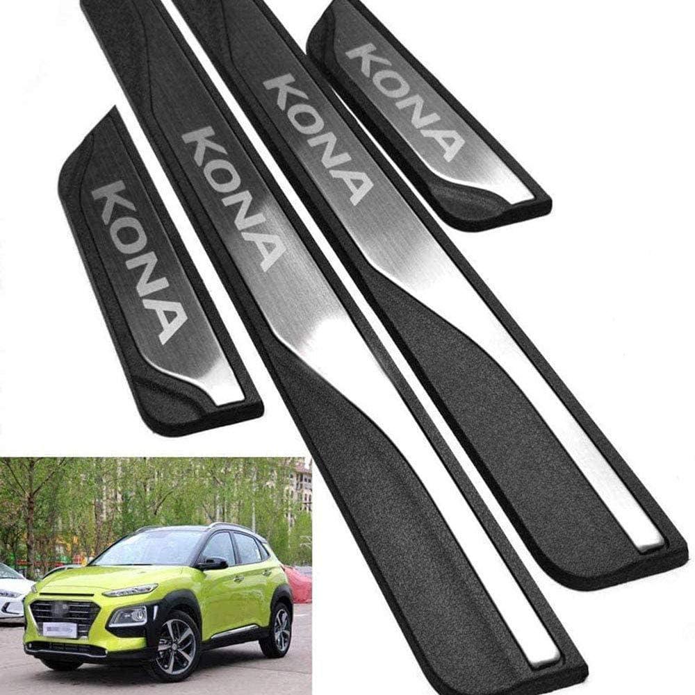 Hat Die F/äHigkeit Abrieb AEVEILS 4 Teile//Satz Edelstahl Einstiegsleiste T/üRschweller Autozubeh/öR Carbon Auto Scuff Aufkleber F/üR Hyundai Kona 2017-2020