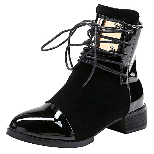 Jamron Women Punk Metal Style Cool Patent PU Leather Chunky Heel Ankle Boots Autumn Winter Warm Fluff Lining Zip Boots