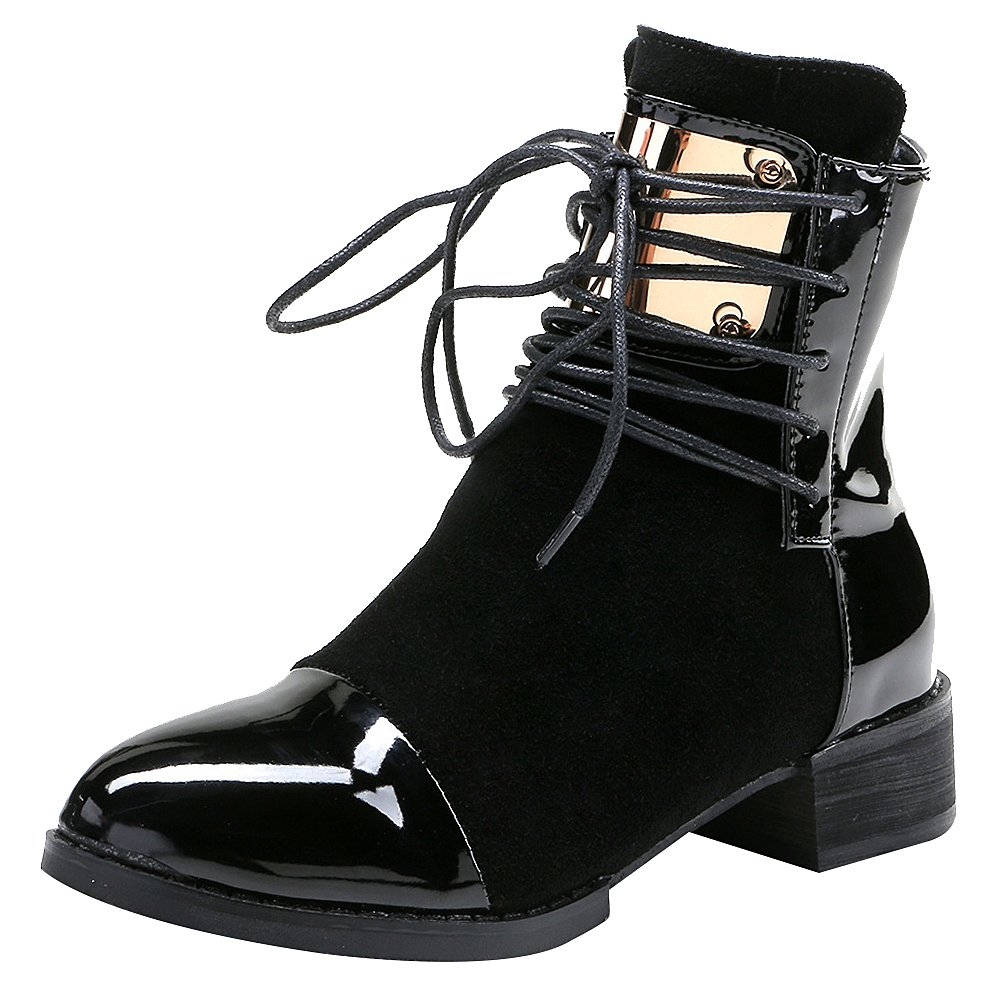 Jamron Women Punk Metal Style Cool Patent PU Leather Chunky Heel Ankle Boots Autumn Winter Warm Fluff Lining Zip Boots Black SN02701 US8