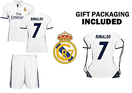 release date 0fd8f ec5b9 Ronaldo #7 Real Madrid Home Kids Soccer Jersey Kit with Free Shorts &  Backpack Youth Sizes