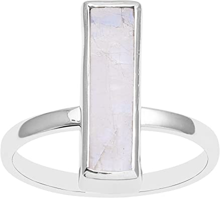 Indian 925 silver Rainbow Moonstone Solitaire Silver Ring ~ hand made