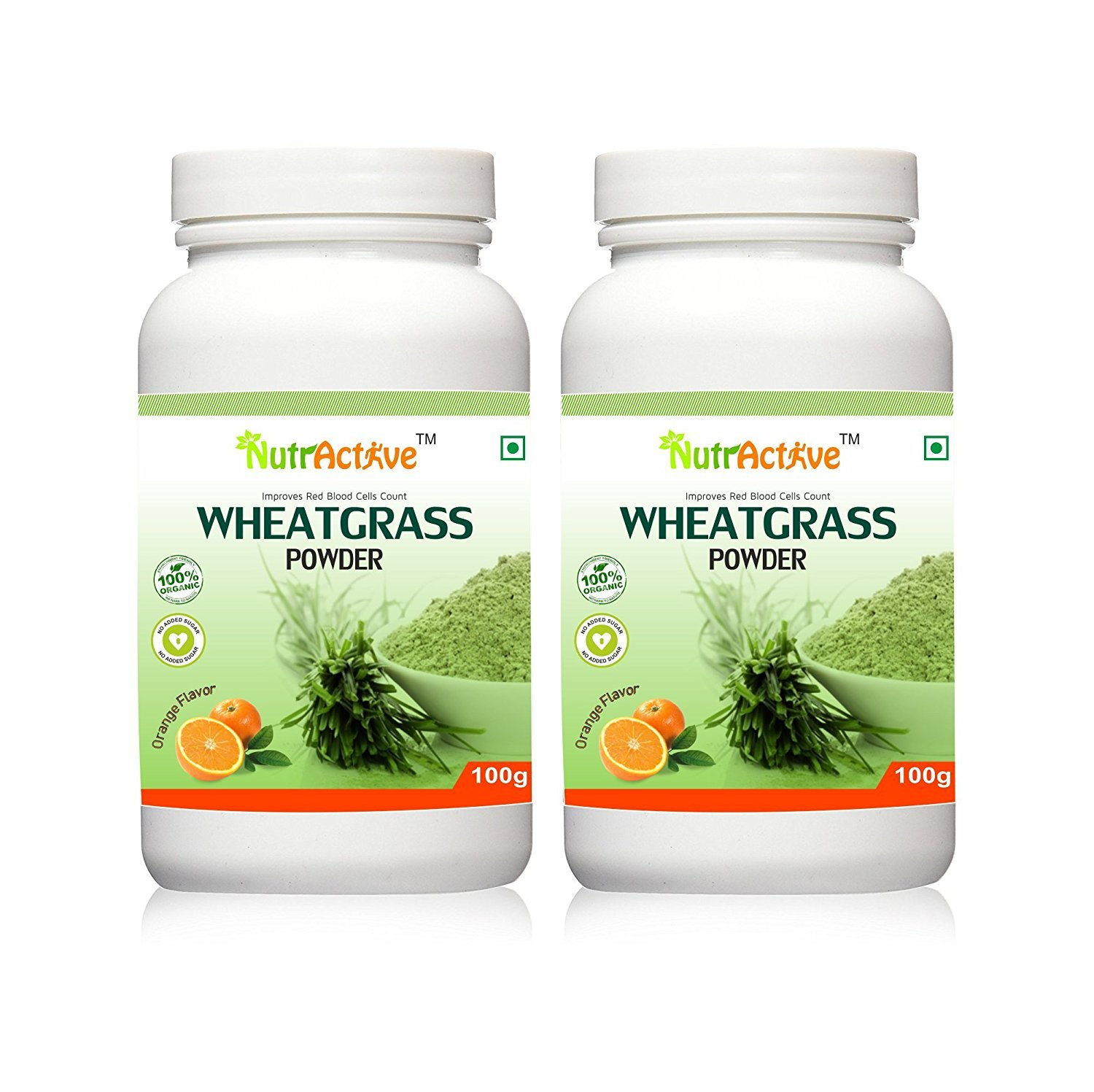 NutrActive Organic Wheatgrass Powder with Orange Flavor - 100 gm (Pack of 2)