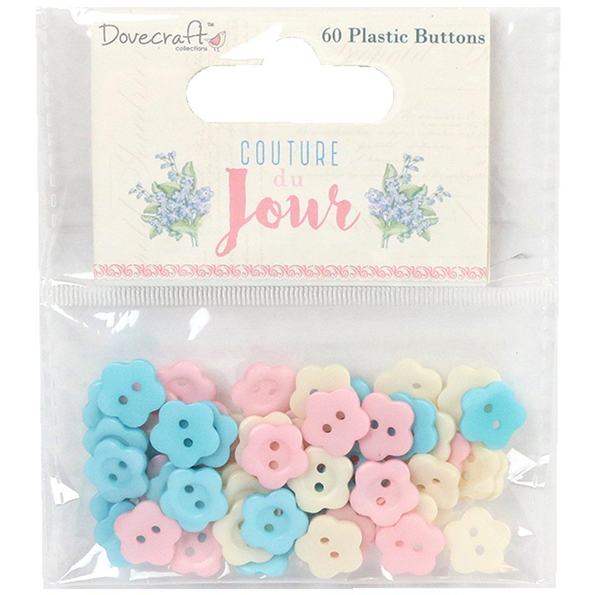 Trimcraft DCBTN015 Dovecraft Couture Du Jour Plastic Buttons - 60 per Pack B01LZAKTIW
