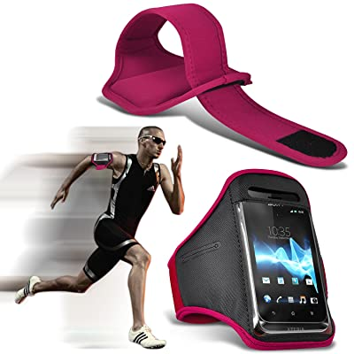 ( Hot Pink ) Samsung Galaxy S5 Sport Universal Sports en cours Arm Band Jogging Débarrasser Bike Cyclisme Gym Housse couverture par Spyrox