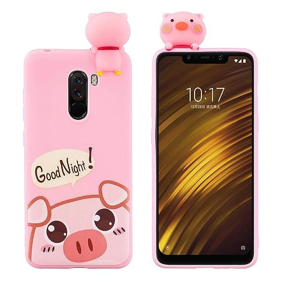 wholesale dealer 257c1 eda32 Amazon.com: SHUNDA Xiaomi Pocophone F1 Silicone Case [3D Cute ...