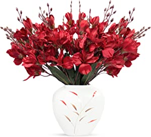 4pcs Artificial Flower Artificial Azalea Fake Faux Primroses Bouquet Arrangements Home Garden Table Patio Wedding Party Christmas Decoration 17.7 inch (RED)(NO VASE Included)