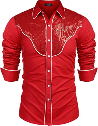 Frontier Fashion Mens Animal Printed Slim Fit Long Sleeve Button Down Dress Shirt