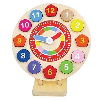 Reloj de juguete de madera para niños, aprender a decir la hora, el reloj de enseñanza por jumini ®: Amazon.es: Bebé