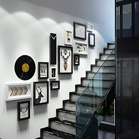 Photo Frame Collage Staircase Creative Solid Wood Combination Photo Frame  Luxury Wall Decoration ( Color :