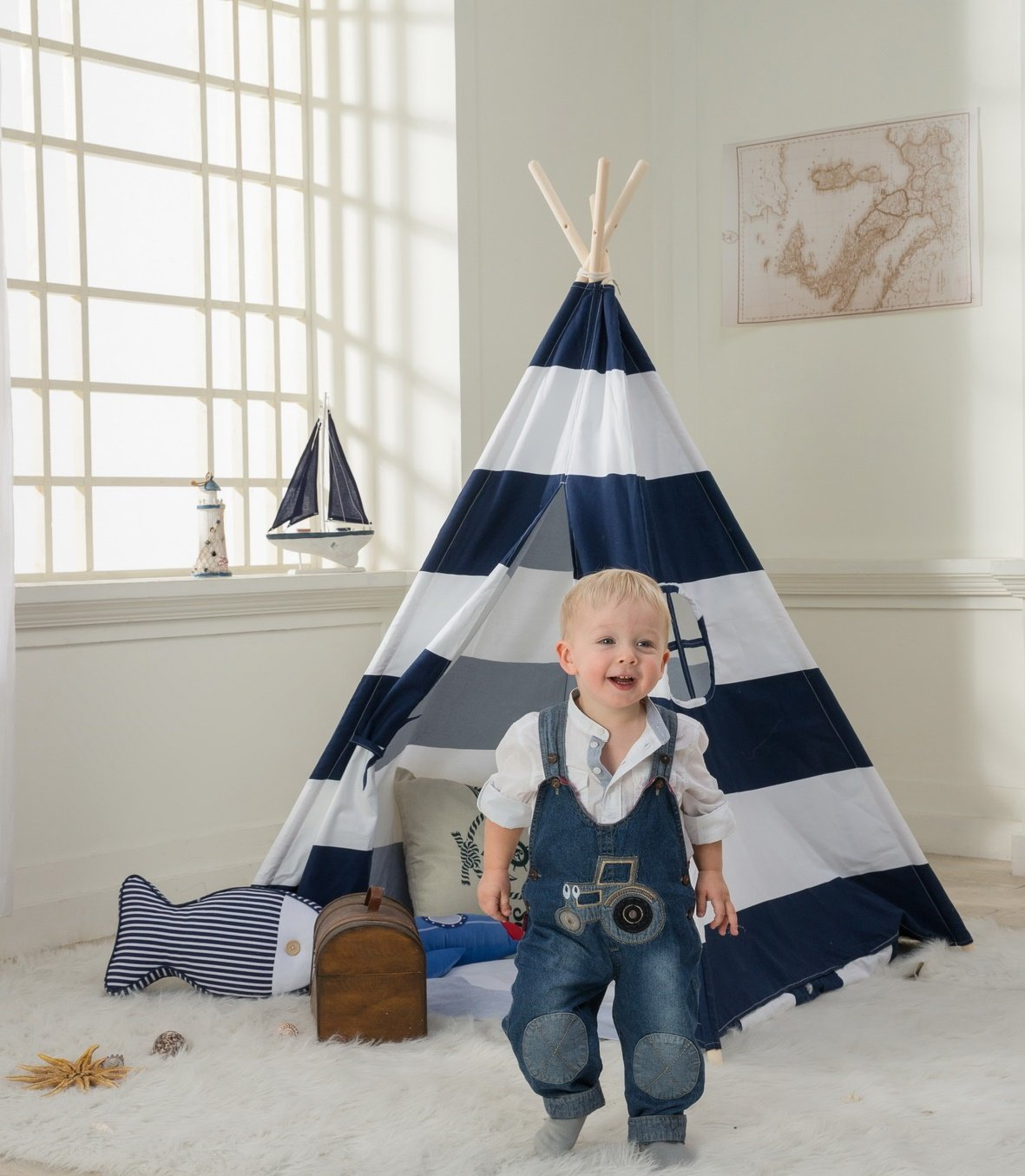 DeceStar Blau Teepee Zelt für Kinder- 100% natürliches Baumwollsegeltuch-Spiel-Zelt für Kinder - Komm mit Matratze und Tragetasche