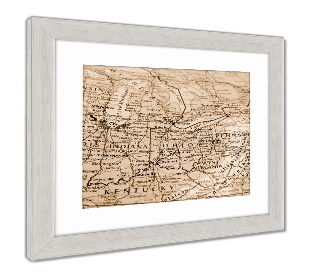 Ashley Ohio Map.Amazon Com Ashley Framed Prints Map Of The Ohio State With