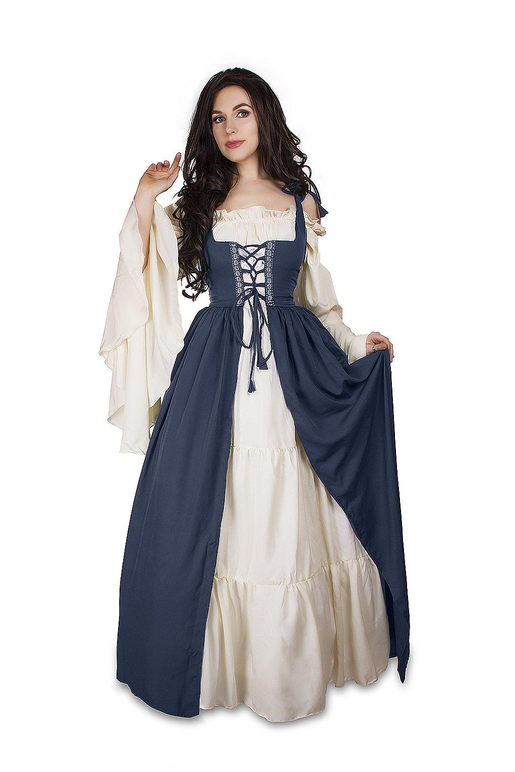 Renaissance Medieval Irish Costume Over Dress & Cream Chemise Set (S/M, Steel Blue)