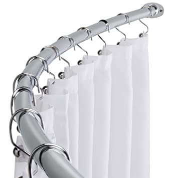 WholesalePlumbing Curved Shower Curtain Rod Adjustable Bath Tub Accessory Chrome