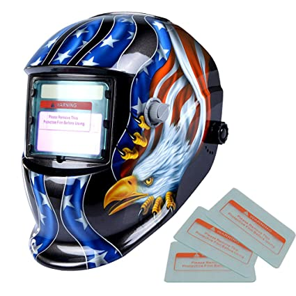 Sharplace Casco de Máscara de Soldadura de Filtro Auto-oscurecimiento Accionado Solar - USA Eagle