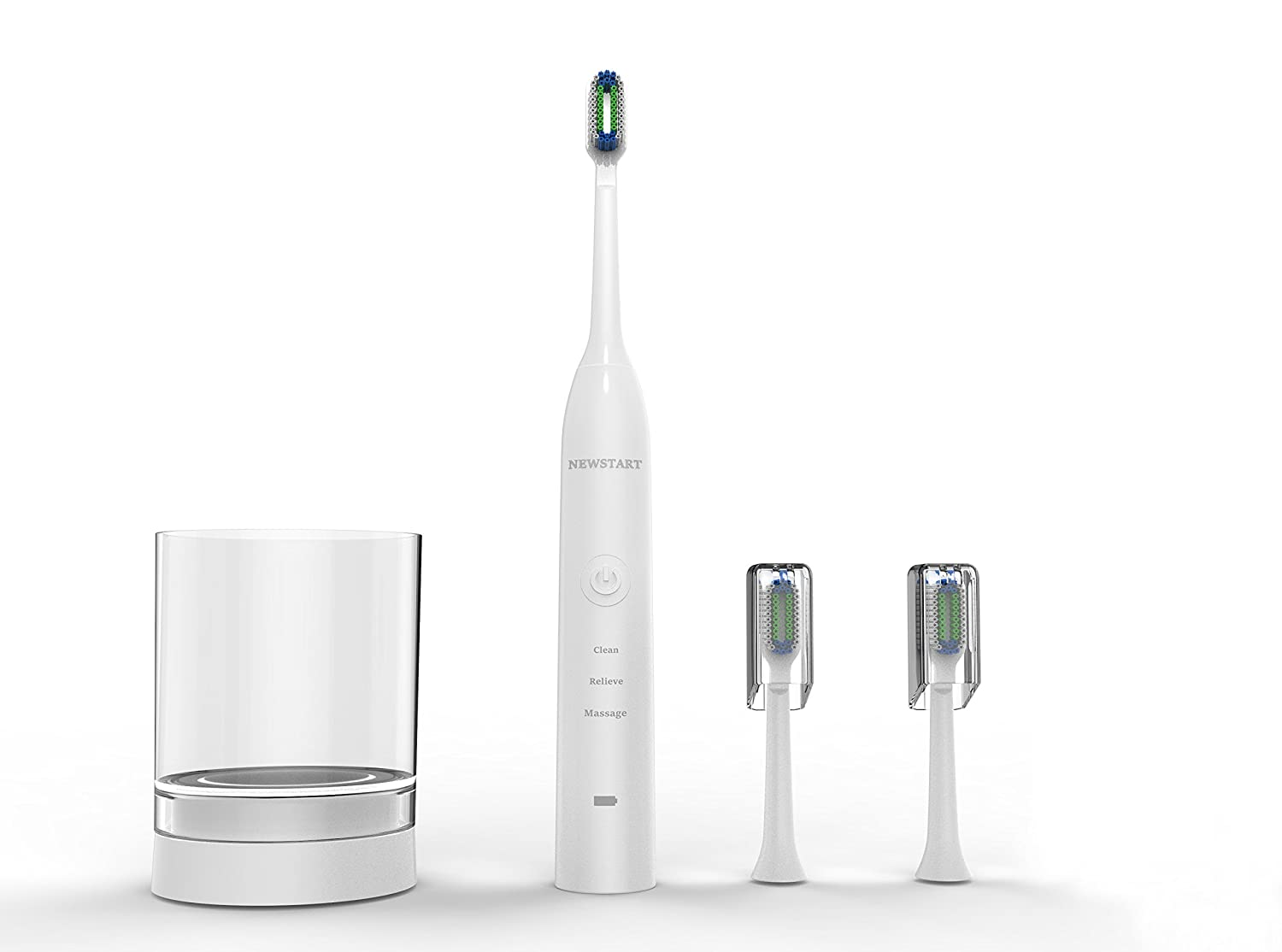 Sonic Electric Toothbrush, Power Rechargeable Toothbrush with 4 Brushing Modes, with 5 Replacement Heads White