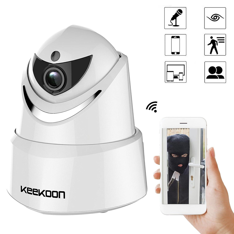 ネットワークカメラ 200万画素 1080P 監視カメラ wifi対応 動体検知 警報機能付き 防犯カメラ 双方向音声 PTZ暗視 スピーカー マイク搭載 ベービーモニター ペット/子供見守り Android/iOS/PC対応 1年保証付き 2017年新登場 (ホワイト) B0761T8DHX  ホワイト(k005)