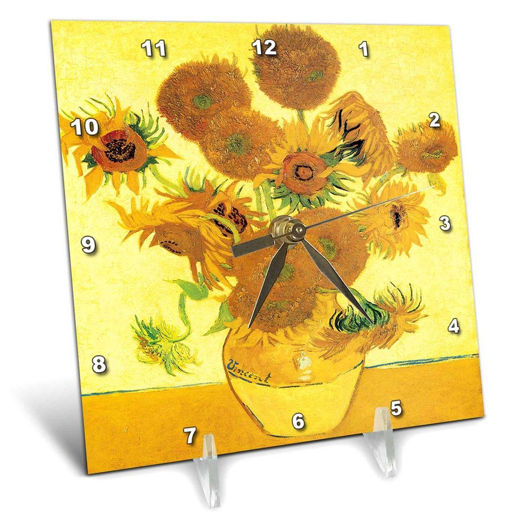 dc/_128138/_1 Desk Clock 3dRose Sunflowers by Vincent Van Gogh 6 by 6-Inch