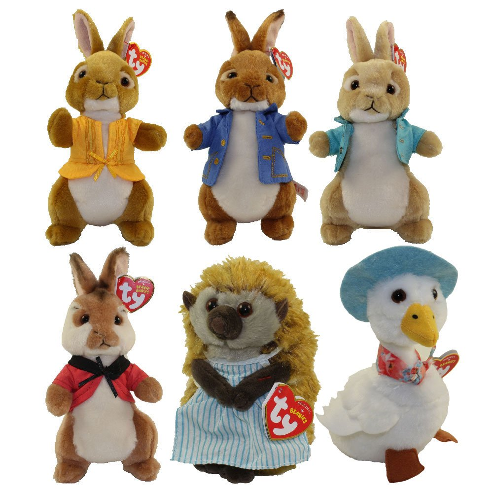 TY PETER RABBIT (Set of 6) - Peter Rabbit, Flopsy, Mopsy, Cotton Tail, Mrs. Tiggy Winkle & Jemima Puddle Duck! by TY BEANIE BABIES
