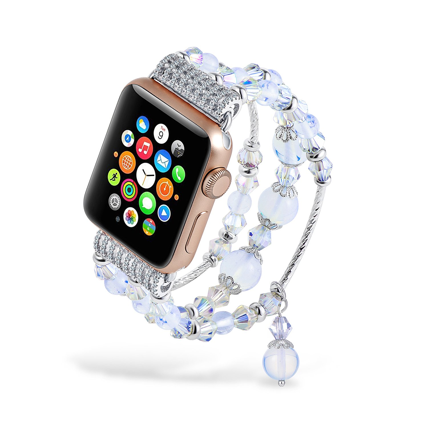 Handmade iWatch Band Luxury Crystal Beaded Opal Wristband No Buckle for Apple Watch Series 3 38mm Silver