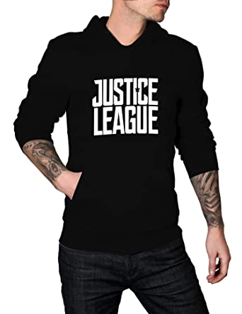 Mens Justice League Boys Pullover Hoodie Movie Logo - Superhero Hoodie | Black, S
