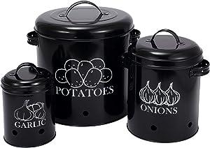Potato Onion Garlic Storage White Food Storage Container Set Storage and Long Shelf Life With Aerating Tin Storage Holes, Metal Lid