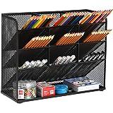 Marbrasse Mesh Desk Organizer, Multi-Functional Pen Holder, Pen Organizer for desk, Desktop Stationary Organizer, Storage Rack for School Home Office Art Supplies (Black)