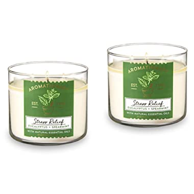 Bath & Body Works, Aromatherapy Stress Relief 3-Wick Candle, dfrDhp, 2 Pack (Eucalyptus Spearmint)