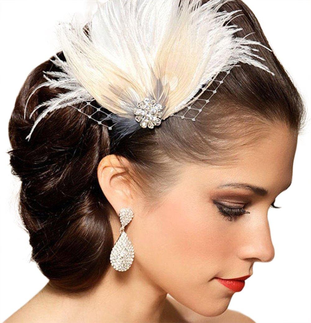 Hosaire Pince à Cheveux Plumes de Rétro Femme Fantaisie fleur strass et artificiel Plume en Gaze Elégant longue Accessoire de Cheveux pour Mariée barrettes et les fêtes et événe