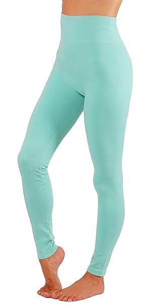 c80e0091a86b10 Women's Leggings Soft Basic Coton Blend Solid Color Yoga Pants Wide  Waistband (S/M