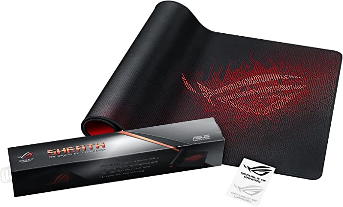 ASUS ROG Sheath Extended Gaming Mouse Pad - Ultra-Smooth Surface for Pixel-Precise Mouse Control | Durable Anti-Fray Stitching | Non-Slip Rubber Base | Light & Portable
