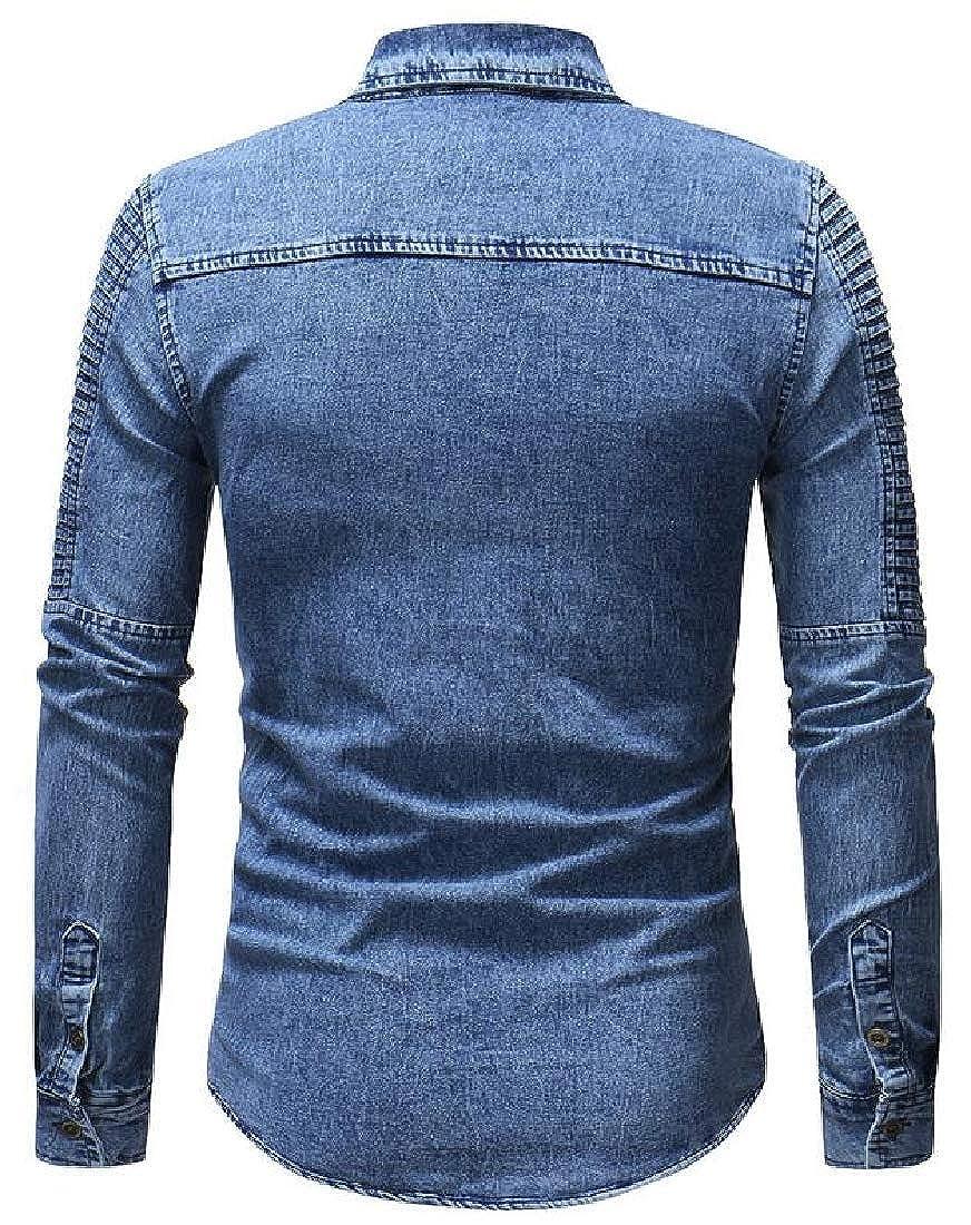 omniscient Mens Button Down Shirts Casual Dress Shirt Fashion Denim Shirt