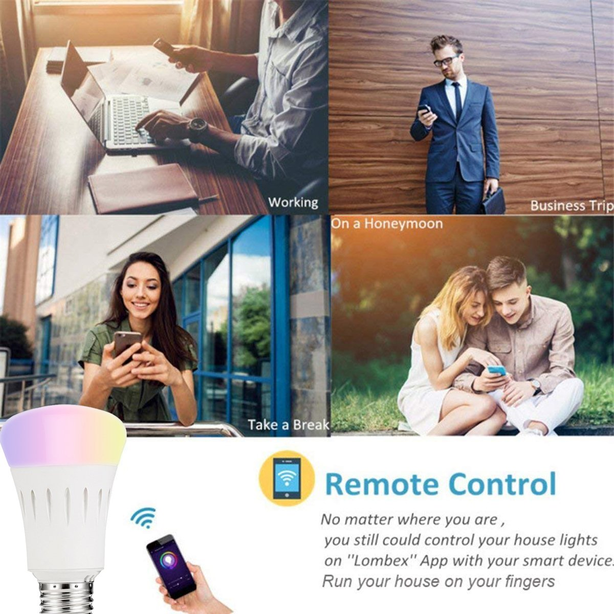 2Pack Smart Bulb Compatible with Alexa,Google Home,Wifi Smart Light Bulb,Dimmable,Timer Switch,Multicolored,No Hub Required,Remote Control,Scene Mode,Wake Up Lights Function by Buycitky (Image #4)