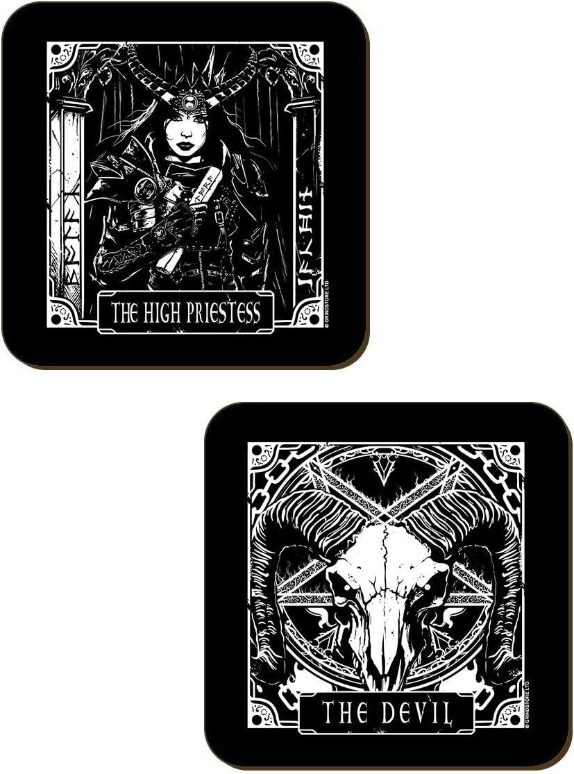 Strength /& Priestess Lot de 4 sous-Verres 9,2x9,2 cm Deadly Tarot Death Devil