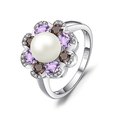 5271d35ca2a0 JewelryPalace Anillo 7mm Cultivado Perla 1ct Genuino Cuarzo ahumado  Amatista Racimo Plata de ley 925  Amazon.es  Joyería