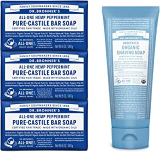 product image for Dr. Bronner's - Gift Set: 3 Peppermint Soaps and 1 Unscented Shaving Soap - Certified Organic, Cleanses and Moisturizes, Versatile, Use on Face, Body, Hair and More, Non-GMO, Vegan (4-Pack)