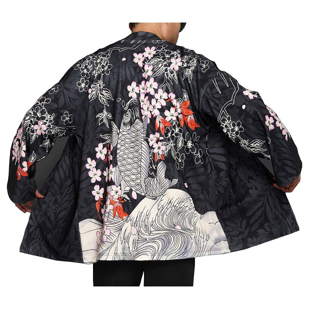 Men Japanese Yukata Coat Kimono Jacket Vintage Loose Top Warm Dragon Fish Retro