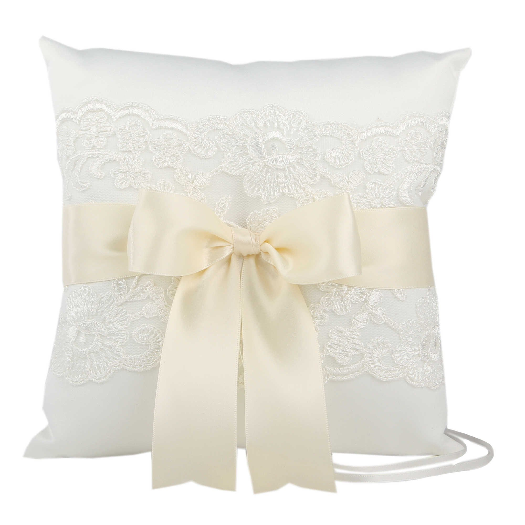 Bridal Ivory Lace & Satin Ribbon Wedding Ceremony Ring Bearer Pillow and Mini Favor LOVE Picture Frame