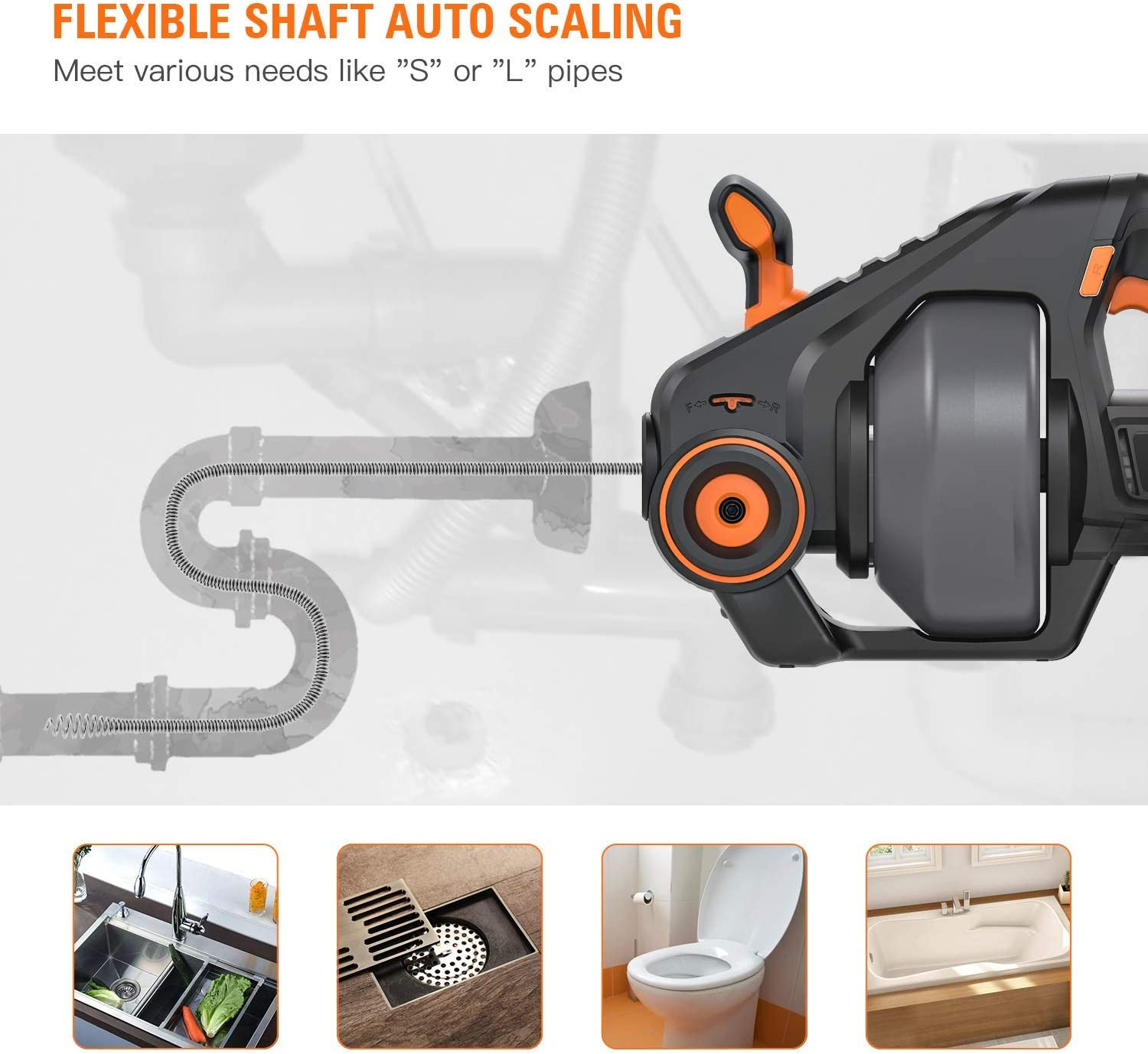 Tacklife Automatic Cordless Drain Clog Remover Perfect Replacement for Drain Snake 25Ft Renewed HGDDC1A 7.5M 20-Volt MAX Li-Ion Replaceable Flexible Shaft Drain Auger