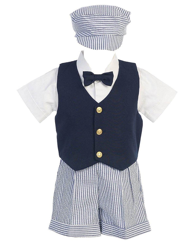 iGirldress Boys Infant Toddler Striped Cotton Seersucker Easter Short Set