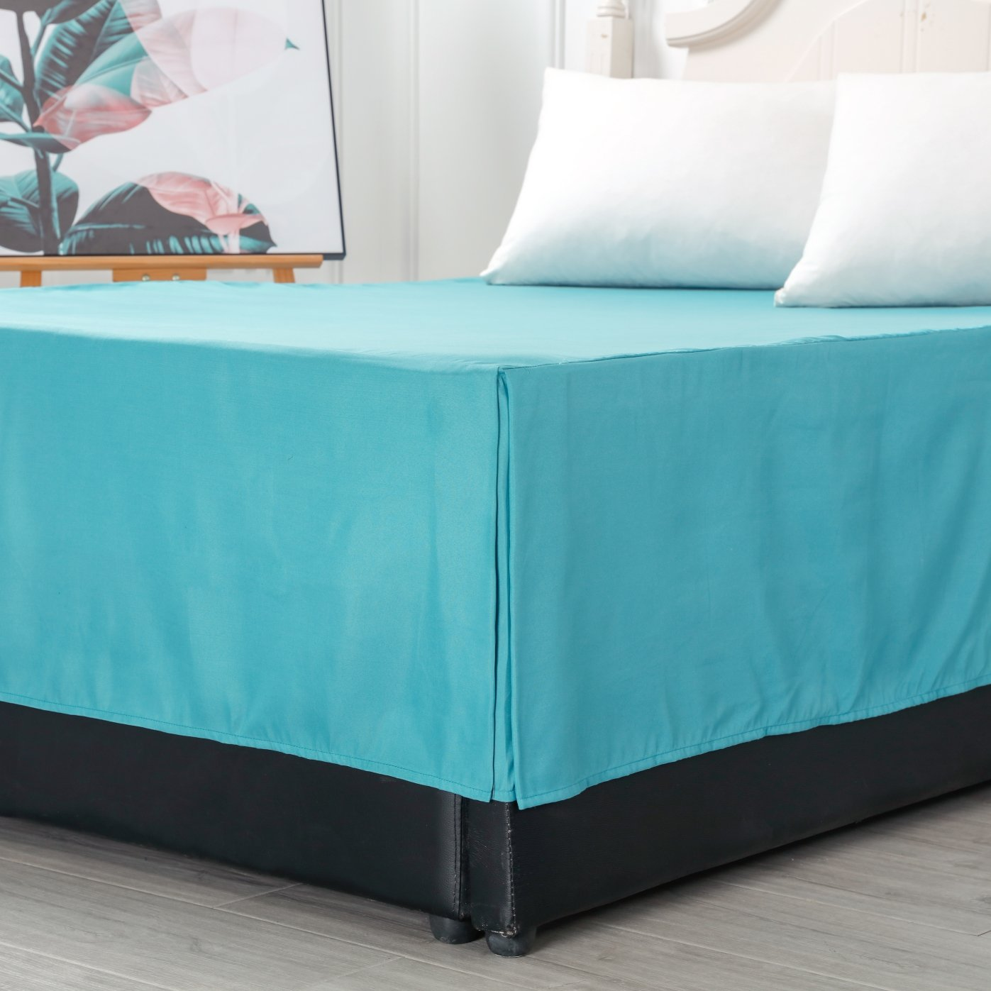 Bed Skirt Dust Ruffle Wrap Around Fade and Dust Mites Resistant with 14 inch Drop Solid Color Queen Size Teal