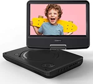 """COOAU 11.5"""" Portable DVD Player 5 Hour Rechargeable Battery, Game Joystick, 9.5"""" Swivel Screen, Support USB Port SD Card, Region Free, Black"""