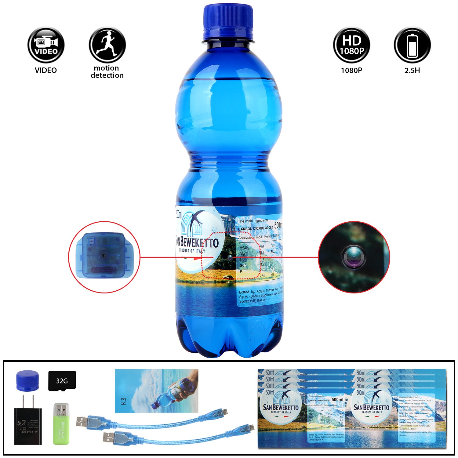 4. WCXCO Spy Camera Water Bottle Hidden Camera - 32GB 1080p Video-Taking for 2.5 hours Mini DV Surveillance Camcorder With Motion Detection Function