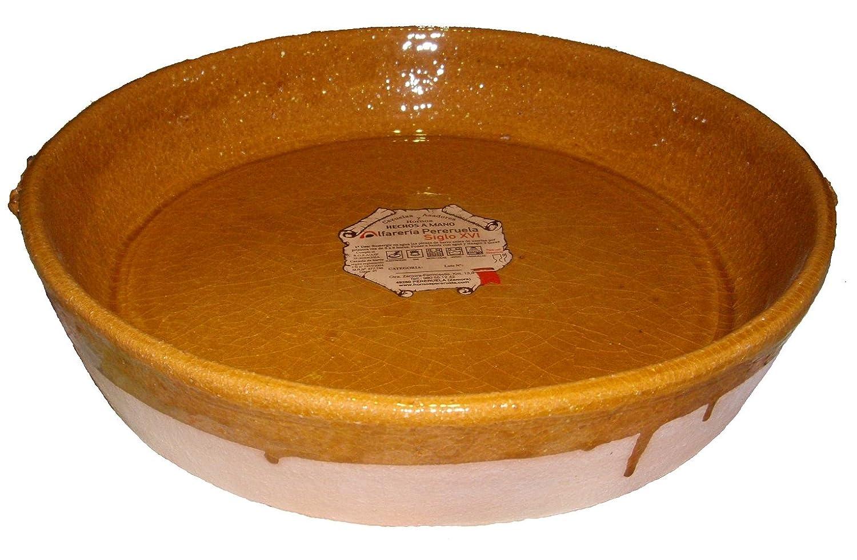 Alfarer/ía Pereruela Siglo XVI Paellera de Barro refractario aut/éntico 35 cm Miel